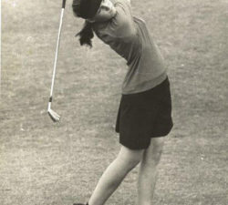 Younger Sally swinging her club full force