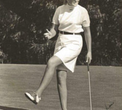 Sally Little's victory gesture on the range