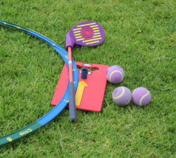 Closeup of golf equipment for kids