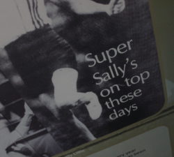 "A magazine quote that reads ""Super Sally's on top these days"""