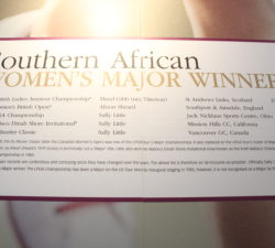 A board of South African Women's Major Winners