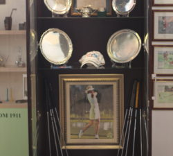 A wardrobe with Sally Little's memorabilia