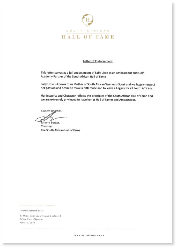 Letter of Endorsement Sally Little South African Hall of Fame